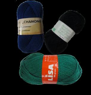 Guimpe - blauw/groen/zwart gestreepte trui - garen
