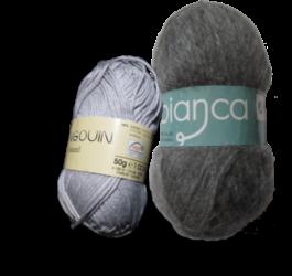Guimpe - grijs gestreepte trui - garen