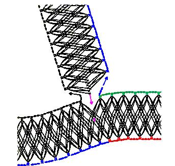Guimpe - donkerrode tuniek - zijbaan detail