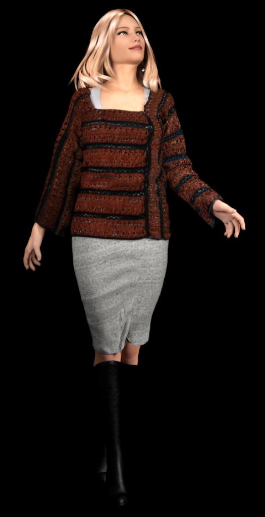 Gratis guimpepatroon - bruinzwarte trui - model