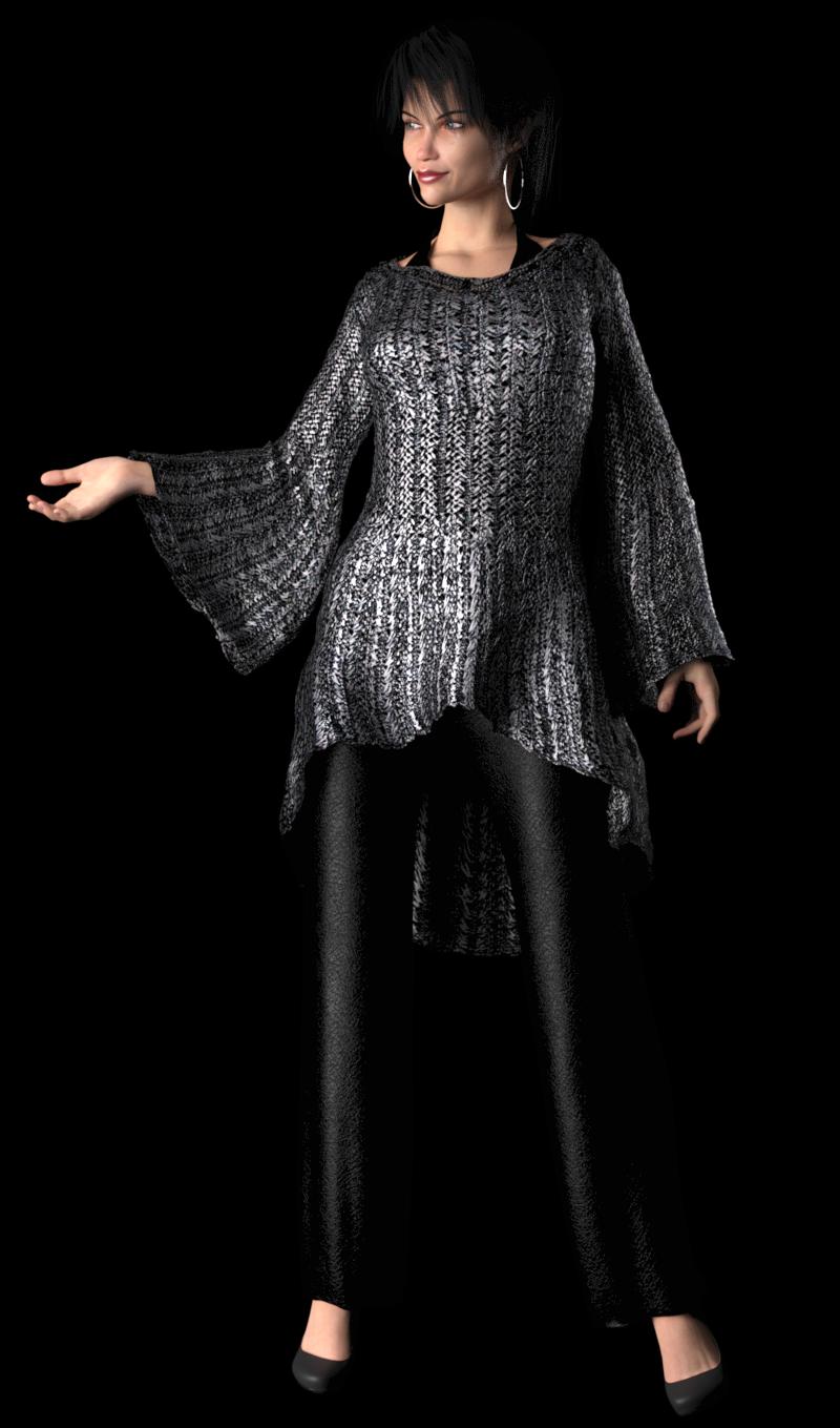 Guimpepatroon - zilverkleurige trui