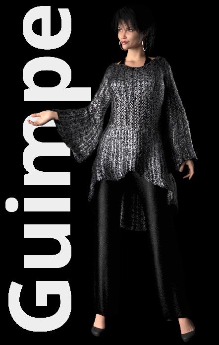 Gratis guimpepatroon - zilvergrijze trui