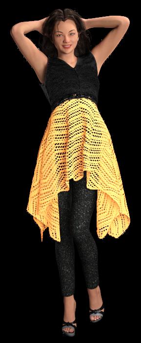 Breipatroon - zwart-geel jurkje