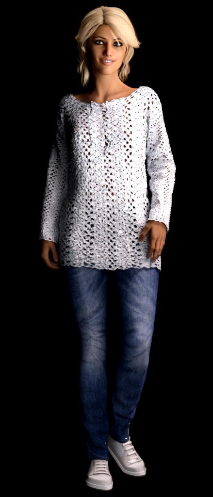 Guimpe - witte paillettentrui - model